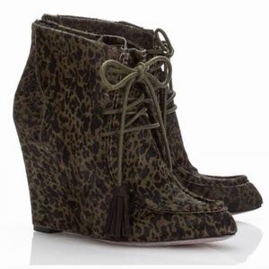 Green fur leather army animal print wedge booties
